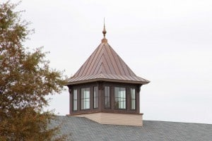 A 12' wide square cupola built with heavy timber frame structure