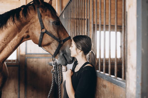 woman standing next to horse inside barn with metal balusters in back