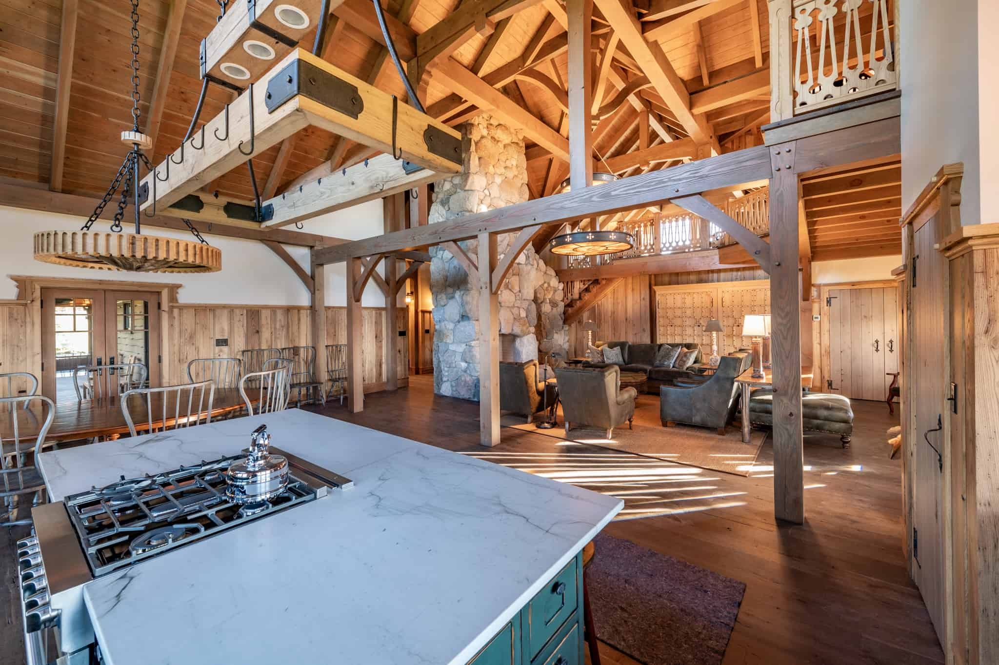 party barn kitchen stove and living room furniture